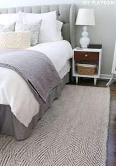 I'm in love with the Sierra Paddle Rug from Rugs USA. The pattern, size, and color is perfect for this neutral master bedroom space.
