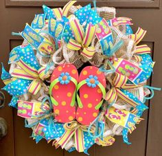 Beach Wreaths, Beach House Decor, Flip Flops, Beach Lover Gift, Year Round Wreat... - Beach Wreaths, Beach House Decor, Flip Flops, Beach Lover Gift, Year Round Wreat...