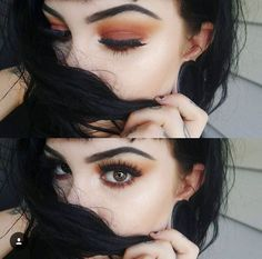 This shot displays an autumnal theme regarding her makeup. The way the photo is cropped makes the viewer fully focus on her eyes.