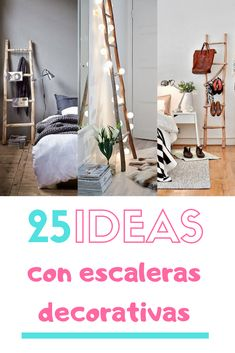 Ideas para decorar con escaleras de mano. Escaleras decorativas para decorar interiores y exteriores. #escaleras #escalerasdecorativas #escalerasdemano #estiloydeco #decoraciondiy #DIY Decoracion Low Cost, Interior Exterior, Ladder Decor, Home Decor, Bag, Decorative Ladders, House Decorations, Furniture, Stone Fire Pits