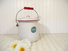 Antique Red on White Enamelware Slop Pail with by DivineOrders, $37.00