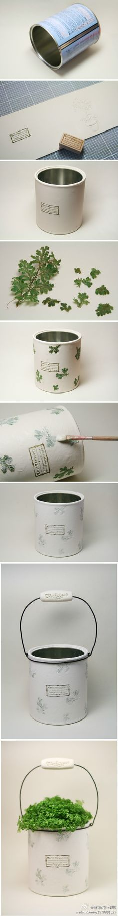Photo tutorial: Planter from large can. Could use a [new] paint can from Depot as well.