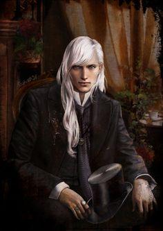 Sabin Duvert by *fuchsiart - white hair and tophat