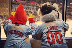 Fredbird and Louie at the Blues game.