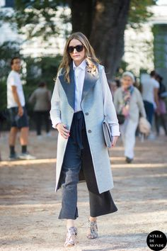 coat with gray culottes