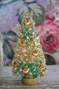 Mercury Balls Decorations Vintage Japan White Green Christmas Bottle Brush Tree Mercury