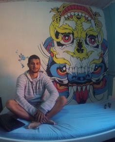 pintura feita com posca na parede! :D