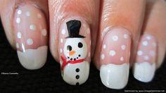 snow man nails   Cute snowman nail design - Nail Art Gallery