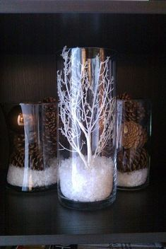 Branches and pine cones on fake snow. Simple Christmas or winter decor.