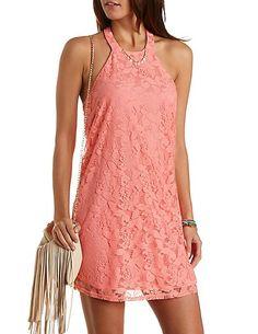 Vestidos Rosas Casuales 2015 – Lindos y Cortos: Vestido corto rosa de encaje 2015 con la espalda baja