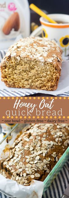 This gluten free honey oat bread is made with just a few simple ingredients in only one bowl! No refined flour (oat flour only), butter or dairy! via dinner bread One Bowl Honey Oat Bread - Gluten & Dairy Free Gluten Free Oats, Gluten Free Baking, Gluten Free Desserts, Dairy Free Recipes, Healthy Baking, Oat Bread Recipe Gluten Free, Gluten Free Dairy Free Bread Recipe, Gluten Free Crackers, Wheat Free Recipes