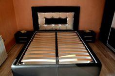 Pat dormitor tapitat in piele originala de bovina cu somiera rabatabila metalica inclusa