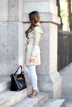 Classic trench and snakeskin pumps