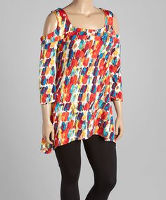 This Red & Blue Brushstroke Cutout Tunic - Plus by GLAM is perfect! #zulilyfinds