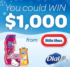 """""""Happy Holidays from Dial®"""" I entered to win. Enter for your chance to WIN Dial® products or a grand prize of $1,000 from Little Tikes®!"""