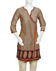 Women's Silk Cotton Chanderi Printed Anghrakha Mini Kurta