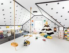 Eclectic Playroom with Wheely Bee Ride On, flush light, Wall sconce, Pendant Light, Carpet, Cathedral ceiling