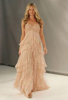 Blush wedding dress.. would be soo cute for a beach wedding