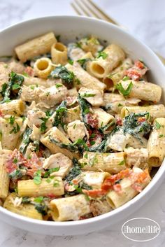 Dijon Chicken Pasta with Sun Dried Tomatoes and Spinach