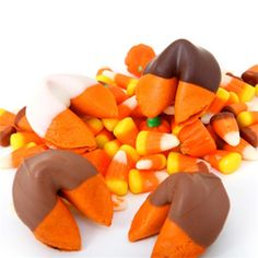 Chocolate Covered Pumpkin Pie Flavored Fortune Cookies    http://www.fancyflours.com/product/Chocolate-covered-pumpkin-pie-fortune-cookies/halloween-party-theme
