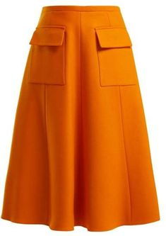 Rochas - Virgin Wool Blend Skirt - Womens - Orange in 2020 Long Skirt Outfits, Winter Dress Outfits, Modest Outfits, Summer Outfits, First Day Outfit, Estilo Jeans, Ladylike Style, Denim Ideas, Backless Prom Dresses