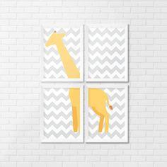 Conjunto de Quadro Decorativo Girafa