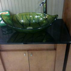 Leaf on a pedestal bathroom sink