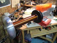 Sweet, Tesla Coil Gun! Shooting light bolts...