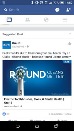 Toothbrush ad facebook. Sort of relevant as have one but never search for toothbrushes online
