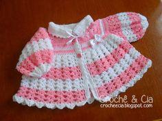 Croche e Cia: Casaquinho de lã Rosa e Branco