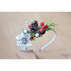 Girl Christmas crown Pine cone head piece Winter woodland headdress... ($35) via Polyvore featuring christmas