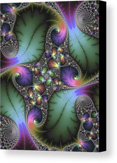Floral Fractal Art with jewel colors Canvas Print for sale. Beautiful tones (green, purple, golden / brown and many more). The image gets printed on one of our premium canvases and then stretched on a wooden frame, click through and check out your options. 30 days money back guarantee. Matthias Hauser - Art for your Home Decor and Interior Design.