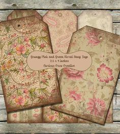 Grungy Pink and Green Vintage Floral Hang by CuriousCrowCreative