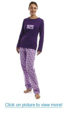 Noble Mount Womens Premium 100% Cotton Flannel Knit Sleepwear Set - Cute  Prints   b8a63041c