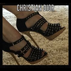 """Christian Dior suede heels DIOR black suede shoes with 4 1/2"""" heel and .79"""" platform. Some signs of wear, excellent condition Dior Shoes Heels"""