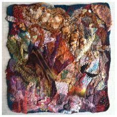 Paper Bark, wet felted, hand stitched; Merino, rust printed, shibori dyed, transfer printed fabrics; miscellaneous fibers.