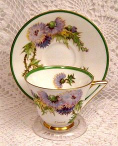 Vintage-Art-Deco-Royal-Doulton-Glamis-Thistle-Cup-Saucer-Artist-Signed