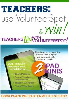for #teachers -use @VolunteerSpot for a chance to win 2 iPad minis --> SERIOUSLY. #backtoschool #weteach