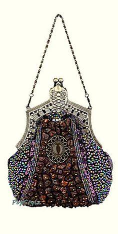 MG Collection Victorian Applique Clutch Handbag