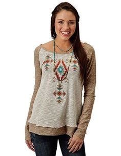Roper Ladies L/S Heather Brown Aztec Embroidered Shirt - 3-38-513-7057BR