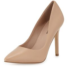 Neiman Marcus Prestige Pointed-Toe Pump (€56) ❤ liked on Polyvore featuring shoes, pumps, heels, flesh, slip on heels shoes, pointy-toe pumps, neiman marcus shoes, leather footwear and heel pump