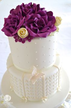 Purple Roses and Hearts Wedding Cake