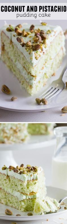 Reminiscent of the popular Watergate Cake, this Coconut and Pistachio Pudding Cake is not only pretty, but tasty as well! Moist and flavorful, this coconut and pistachio cake is topped with a creamy pistachio cream cheese frosting which takes it a step up No Bake Desserts, Just Desserts, Delicious Desserts, Yummy Food, Cupcakes, Cupcake Cakes, Cake Icing, Pistachio Pudding Cake, Pudding Icing