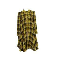 Bonnie Cashin 60s Wool Tweed Plaid Swing Coat w/ Leather Piping ❤ liked on Polyvore featuring outerwear, coats, brown leather coat, wool swing coat, plaid wool coats, flare coats and brown tweed coat