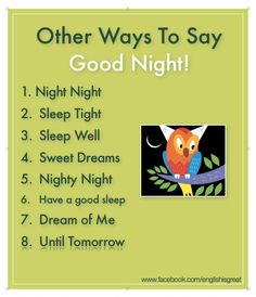 Other ways to say goodnight in English English Vinglish, English Tips, English Writing, English Study, English Lessons, Learn English, English Projects, English Phrases, English Idioms