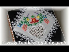 Big heart cookie with Hungarian folk art flowers and eyelets - YouTube