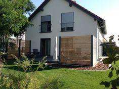 Design Sichtschutzzaun aus Stahl Holz Sibirische Lärche für Garten Terrasse Stahlzart