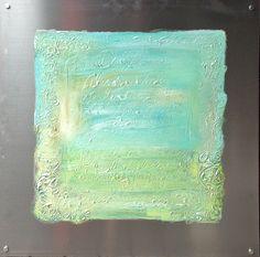 Return to innocense. Painiting on Aluminium. Artist: Elisabeth Takvam. 75x75 cm