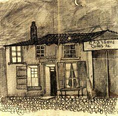 """Vincent van Gogh. The """"Au Charbonnage"""" Café. 1878. Pencil and brown ink on laid paper."""