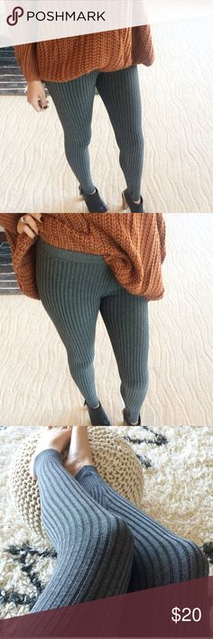 Knit Ribbed leggings New! Reach those fall outfit goals and pair these with your favorite boots and oversized sweater. Ribbed knit light/medium weight, mid rise, elastic waist, stretchy acrylic/spandex blend. I currently do not have any smalls. M fits 4-6, L fits 8-10. No trades. Price is firm, lowest! Pants Leggings